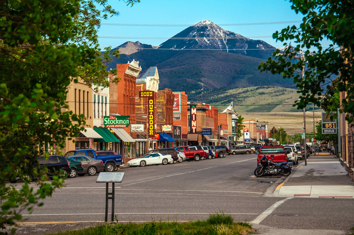 Livingston, Montana, USA - May 25, 2013 : Historic centre of Livingston near Yellowstone National Park.