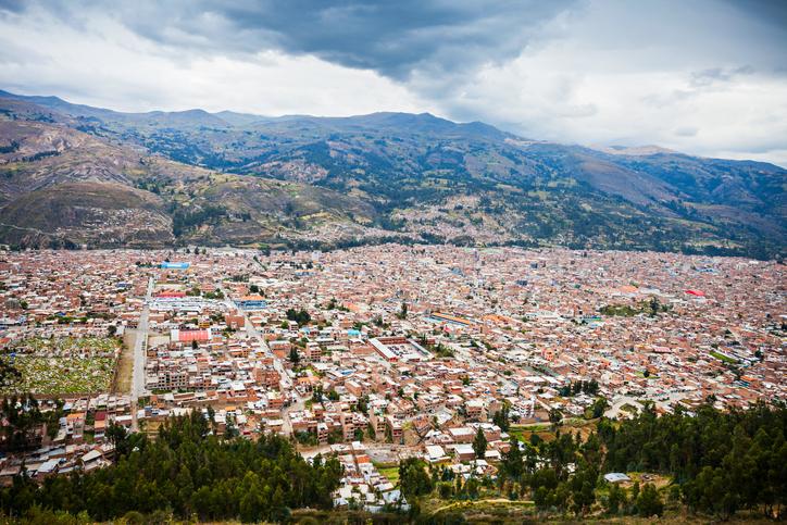 Huaraz aerial view from Mirador de Retaqenua, Peru