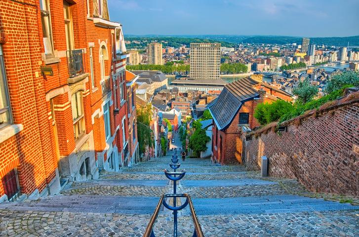 View over montagne de beuren stairway with red brick houses in Liege, Belgium, Benelux, HDR