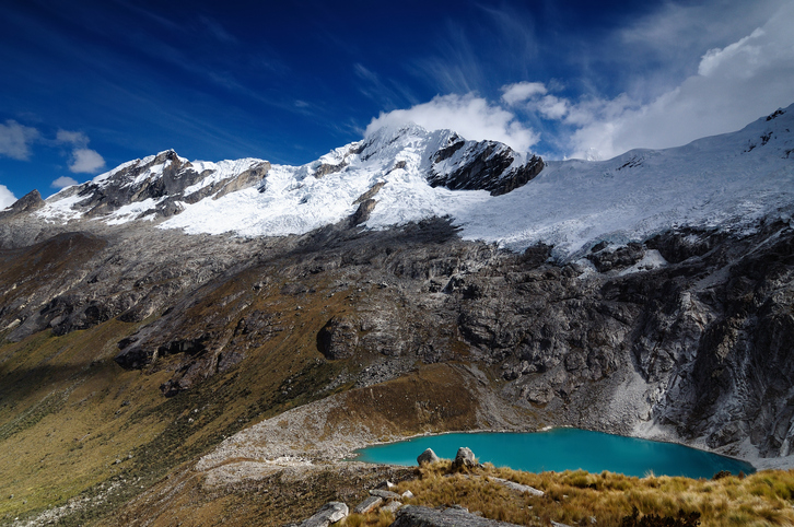 South America, Beautiful Cordillera Blanca mountain on the Santa Cruz Trek in Peru