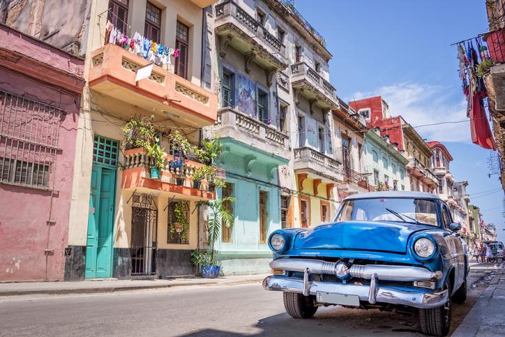 Havana, Cuba - April 23, 2016: Vintage classic american car in Havana, Cuba