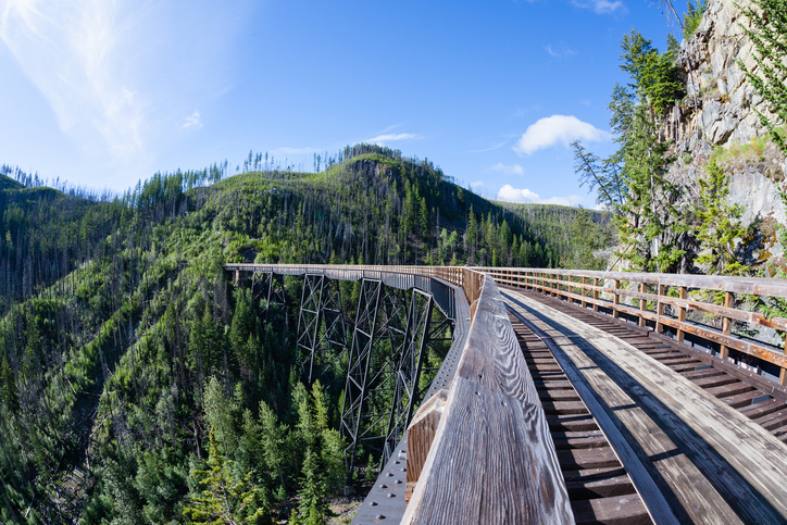 Originally one of 19 wooden railway trestles built in the early 1900s in Myra Canyon, BC, the place is now a public park with biking and hiking trails.Originally one of 19 wooden railway trestles built in the early 1900s in Myra Canyon, BC, the place is now a public park with biking and hiking trails.Originally one of 19 wooden railway trestles built in the early 1900s in Myra Canyon, BC, the place is now a public park with biking and hiking trails.