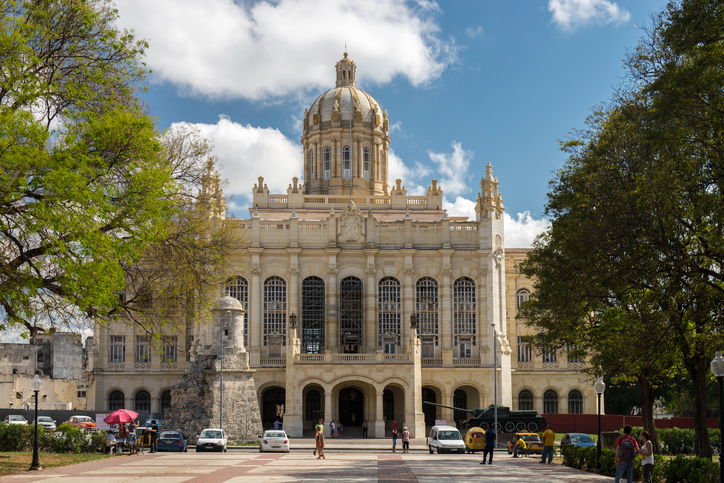 Havana, Cuba - April 5, 2016: The Museum of the Revolution (Museo de la Revolución) is located in Old Havana, Cuba. The Neo Classical building was inaugurated in 1920 and it was the former Presidential Palace. It became the Museum of the Revolution during the years following the Cuban revolution. The city is an Unesco World Heritage site.