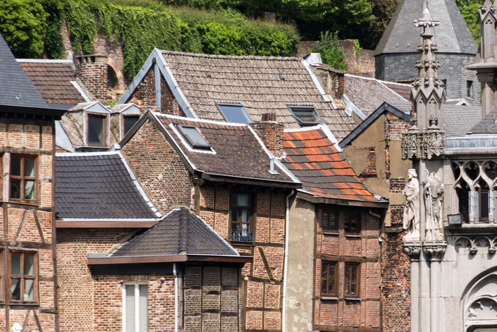 Old timber framed houses in city center liege