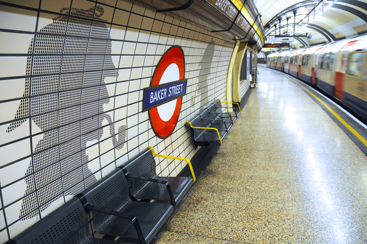 London, United Kingdom – August 24, 2011: Baker Street tube station in London, commemorates the fictional Sherlock Holmes's association with Baker Street.