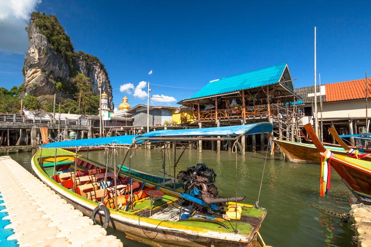 Historical floating Koh Panyi settlement, also known as Koh Panyee, muslim fishing village built on stilts of Phang Nga Bay, Krabi, Thailand.