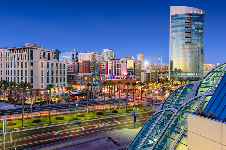 San Diego, California cityscape at the Gaslamp District.