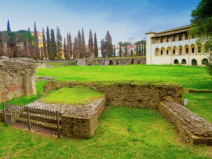 Arezzo,Italy,13 march 2016.View of the Roman amphitheater ruins of Arezzo, Tuscany, built between the first and second centuries d.c