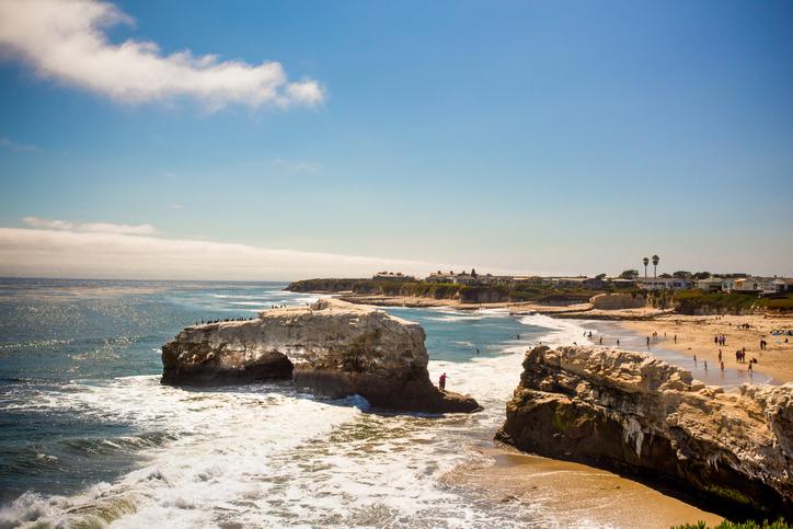 Natural Bridge State Beach in Santa Cruz California on a sunny day.