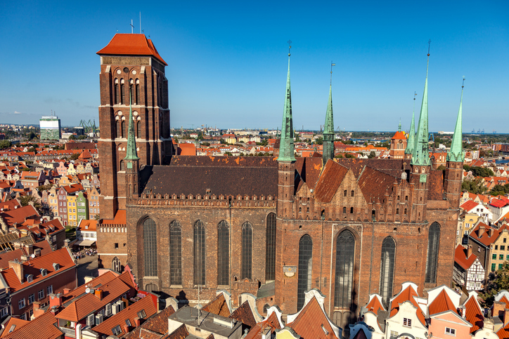 The view from above on St. Mary's Cathedral in Gdansk, Poland.