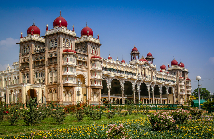 The beautiful Maharajahs Palace in Mysore, Karnataka, India