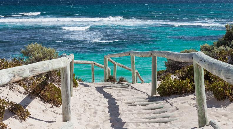 Scenic view over one of the beaches of Rottnest island, Australia.