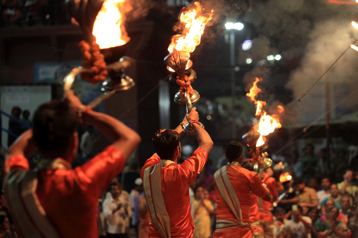 VARANASI, INDIA- MARCH 04,2016:Hindu priests perform the Ganga Aarti ritual in Dassaswamedh Ghat on the banks of the river Ganges in Varanasi, India.