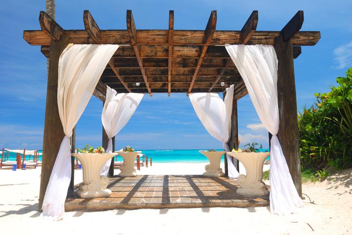 Beautiful caribbean beach with pergola in Dominican Republic