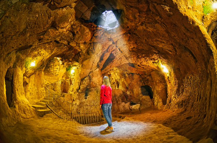 Derinkuyu cave  underground city, Cappadocia , Turkey .Travel background