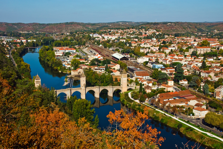 Autumn view from above to Pont Valentre, Cahors, France