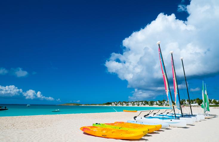 Catamarans on a beautiful Caribbean beach