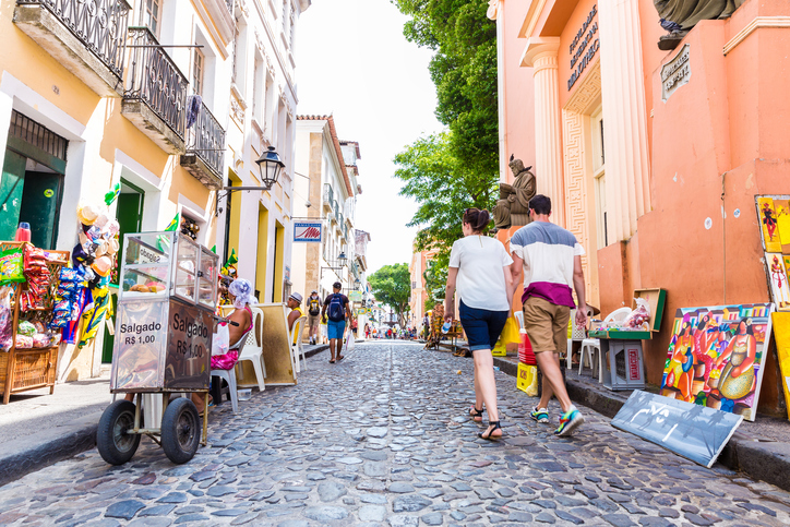Bahia, Brazil - November 16, 2014: People walk in Pelourinho area, famous Historic Centre of Salvador, Bahia in Brazil.