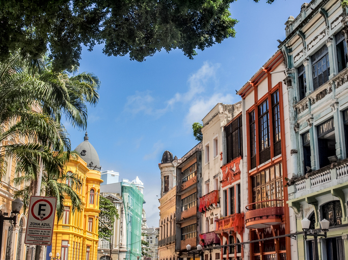 Recife, Brazil - July 17, 2012: The colonial architecture of the historical part of Recife, the capital of Pernambuco region in Brazil.