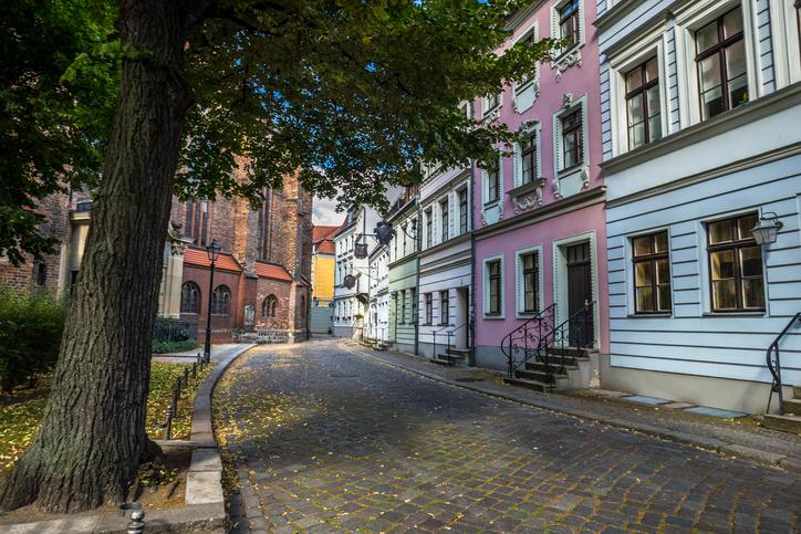 Street in Nikolaiviertel, Berlin, Germany