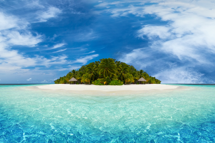 paradise tropical island with coco palms and white sandy beach