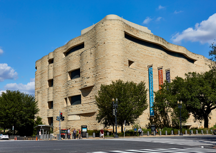 Washington DC, United States - October 2, 2016: Street view of the National American Indian Museum at Independence and Fourth Street