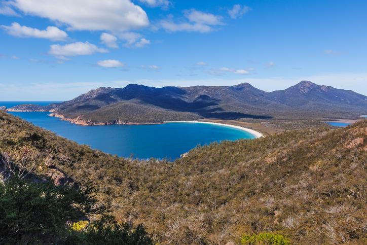 The famous Wineglass Bay in Freycinet National Park. Tasmania, Australia