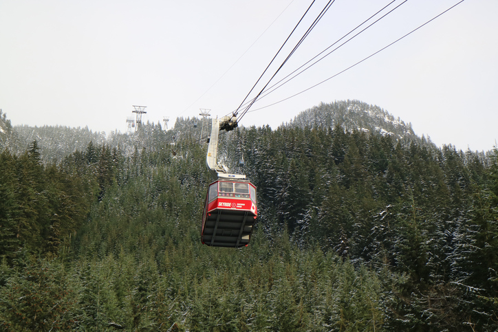 Vancouver, BC, canada - December 17, 2016: Heading Up the Grouse Mountain Skyride towards top of the Mountain