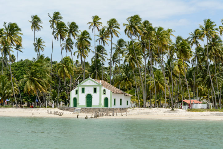 Tamandaré, Pernambuco, Northeast of Brazil - 09-Sep-2015: The Sao Benedito church was build in 1910 at Carneiros beach. Nowadays the church is most famous for celebrating high standard weddings.