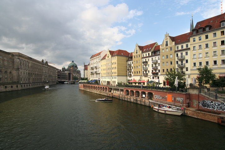 Berlin. Spree river and Nikolaiviertel, with Berliner Dom in the background