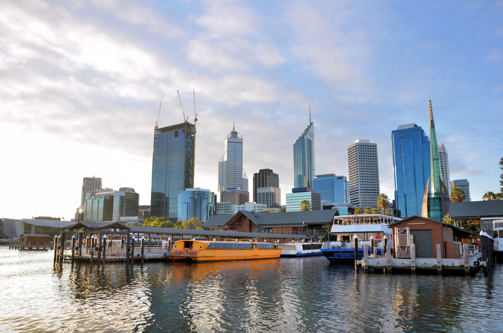 View of Perth City Centre and Barrack Steet Jetty from Swan River at Sunset, Western Australia