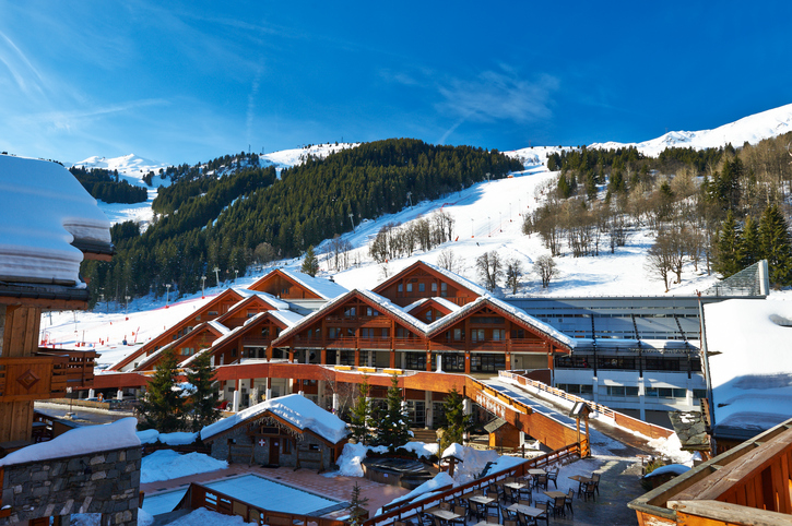 Mountain ski resort with snow in winter, Meribel, Alps, France