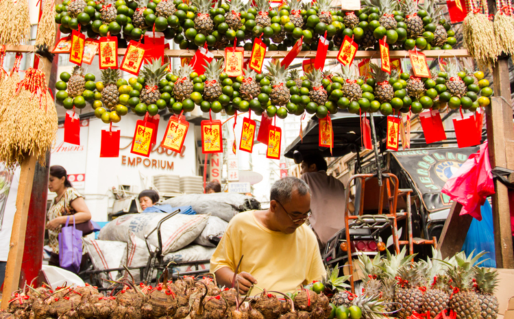 Manila, Philippines - February 6, 2013: Filipino-Chinese community preparing for chinese new year in Chinatown, The Chinese Lunar New Year, or the Spring Festival, begins on February 10 and marks the start of the Year of the Water Snake, according to the Chinese zodiac.
