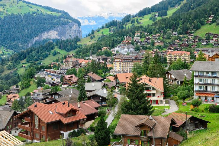 Village of Wengen above Lauterbrunnen Valley