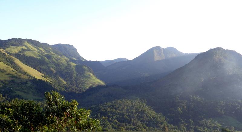 Landscape with Parque Nacional da Serra da Bocaina in the background, Paraty, Brazil.