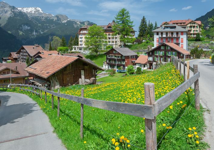 Rural scene of Wengen, Swiss