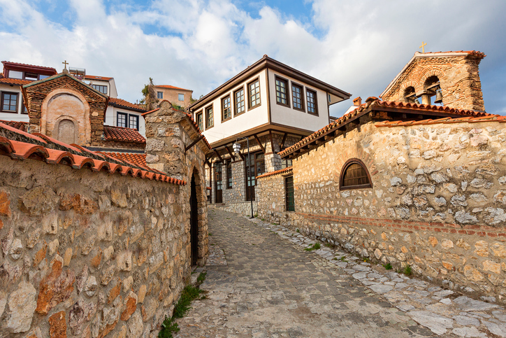 Old town of Ohrid and houses, Macedonia