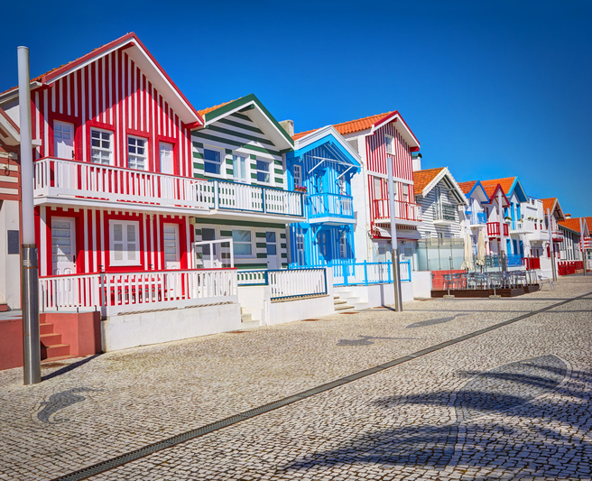Typical houses with colorful stripes in Aveiro, Portuga