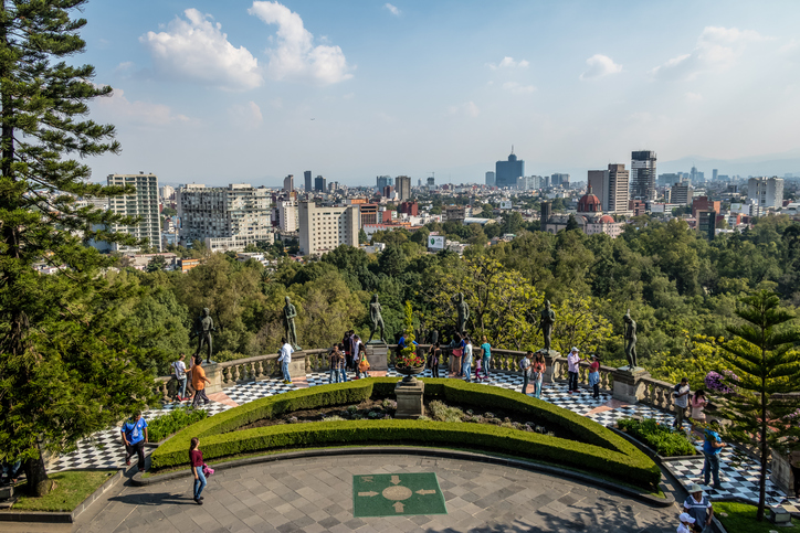 Mexico City, Mexico - Oct 2016: Chapultepec Castle Terrace Gardens View with city skyline  - Mexico City, Mexico