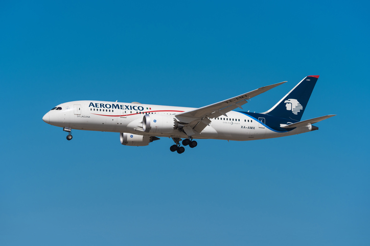 Barajas, Spain - May 22, 2017: Aero Mexico Boeing 787 8 dreamliner is landing in Madrid Barajas airport on May 22, 2017. Aeromexico is the  flag carrier and the largest mexican airways company.