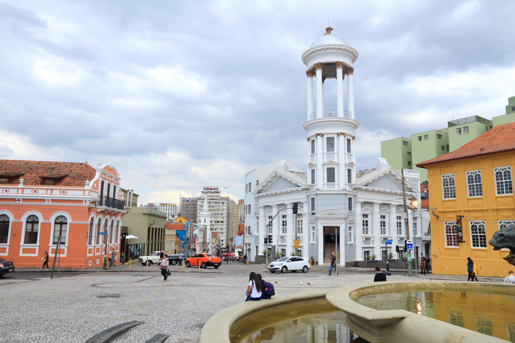 People visit the Old Town of Curitiba, Brazil. Curitiba is the 8th most populous city of Brazil with 1.76 million inhabitants.