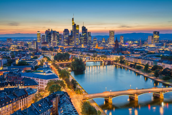 Image of Frankfurt am Main skyline during twilight blue hour.