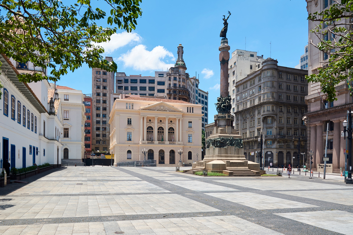 Square Pateo of Collegio and Court of Justice in Sao Paulo, Brazil.