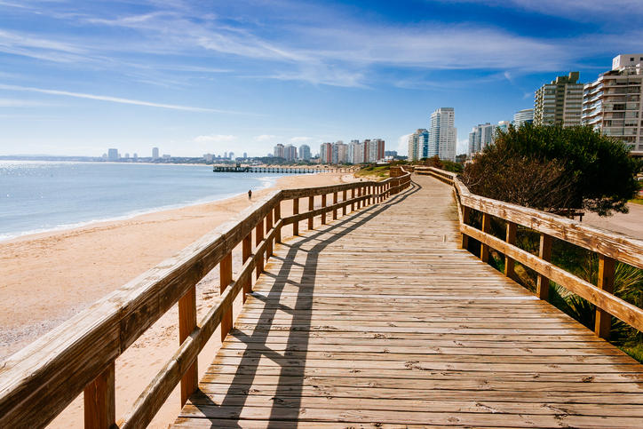 Deck at the beach in the seaside of Punta del Este