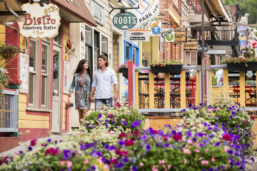 A couple shopping in Main Street in Park City, Utah.