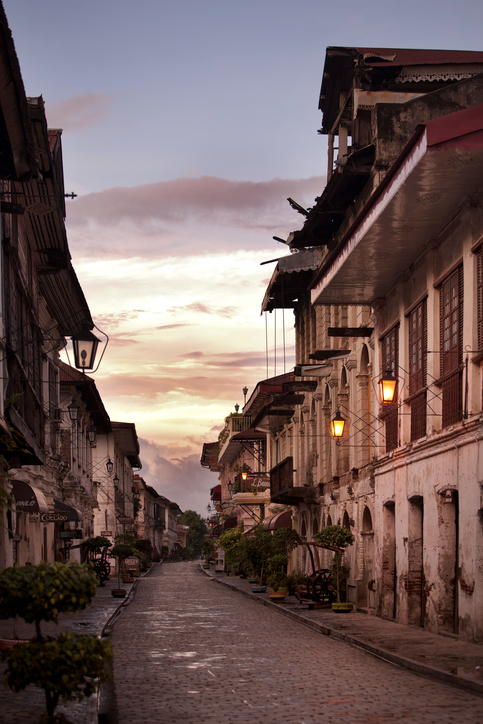 An empty street early morning in Vigan, The Philippines.