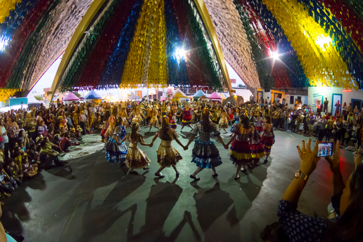 """The group of dancers """"Moleka100vergonha"""" makes performance in the most Greater S?o Jo?o of the World, in Campina Grande, at the Parque do Povo, Brazil."""