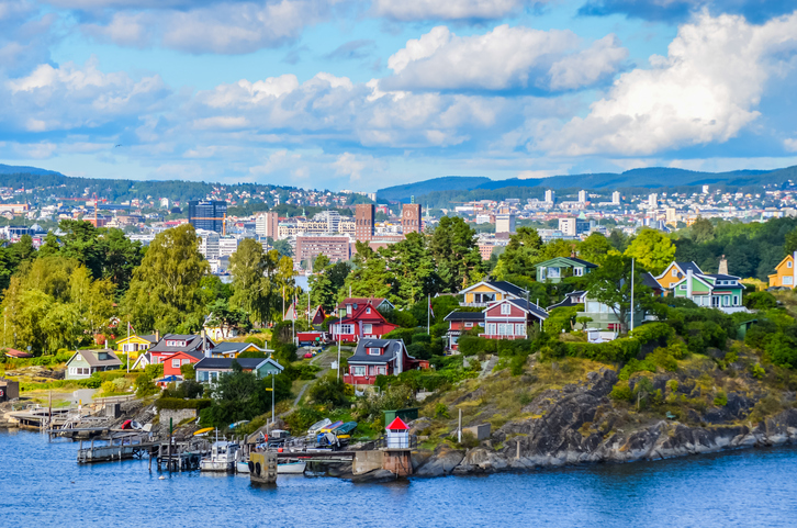 View of Oslo between city and typical nordic cottage