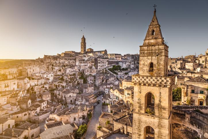 Ancient town of Matera (Sassi di Matera), European Capital of Culture 2019, in beautiful golden morning light, Basilicata, southern Italy.