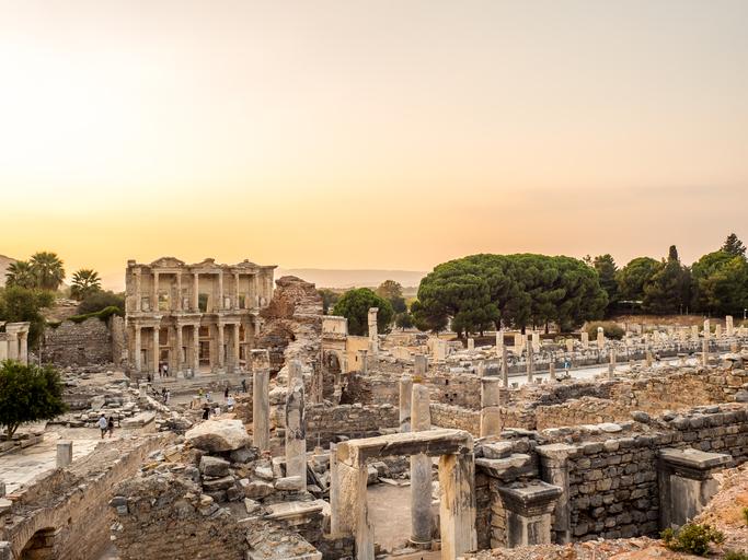 Selcuk, Izmir, Turkey - September 13, 2016: Ephesus was an ancient Greek city on the coast of Ionia. UNESCO World Heritage Site.